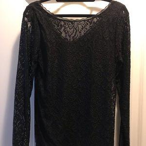 Black Longe Sleeve Lace Blouse